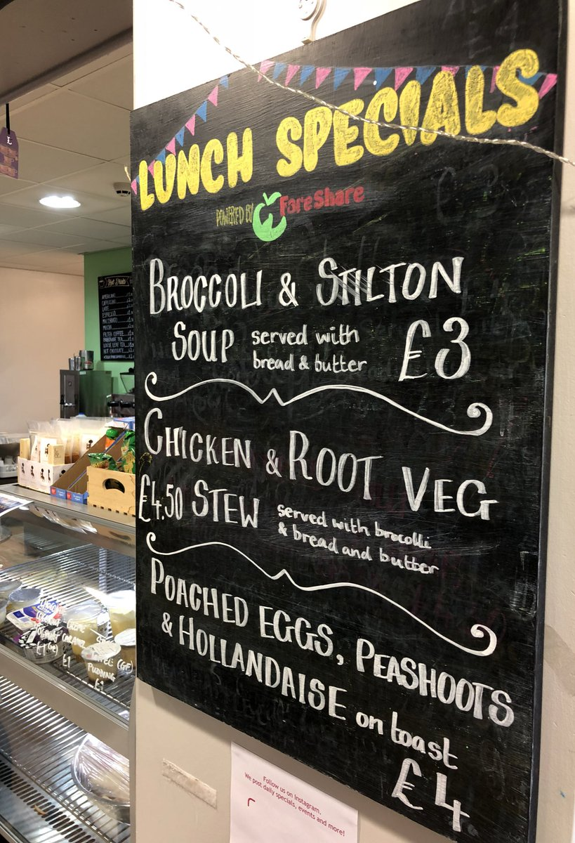 Yes, the specials are the same as yesterday... Just a better photo! Today is #worldkindnessday, a perfect time to remind you that we have a suspended coffee and meals scheme. By giving an extra £1 you can buy a coffee or tea to someone who needs it or £3 for a full meal.