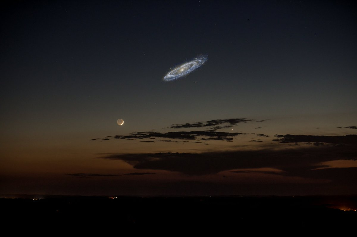 Hypothetical photo revealing how the Andromeda Galaxy would appear in the night sky if it was brighter