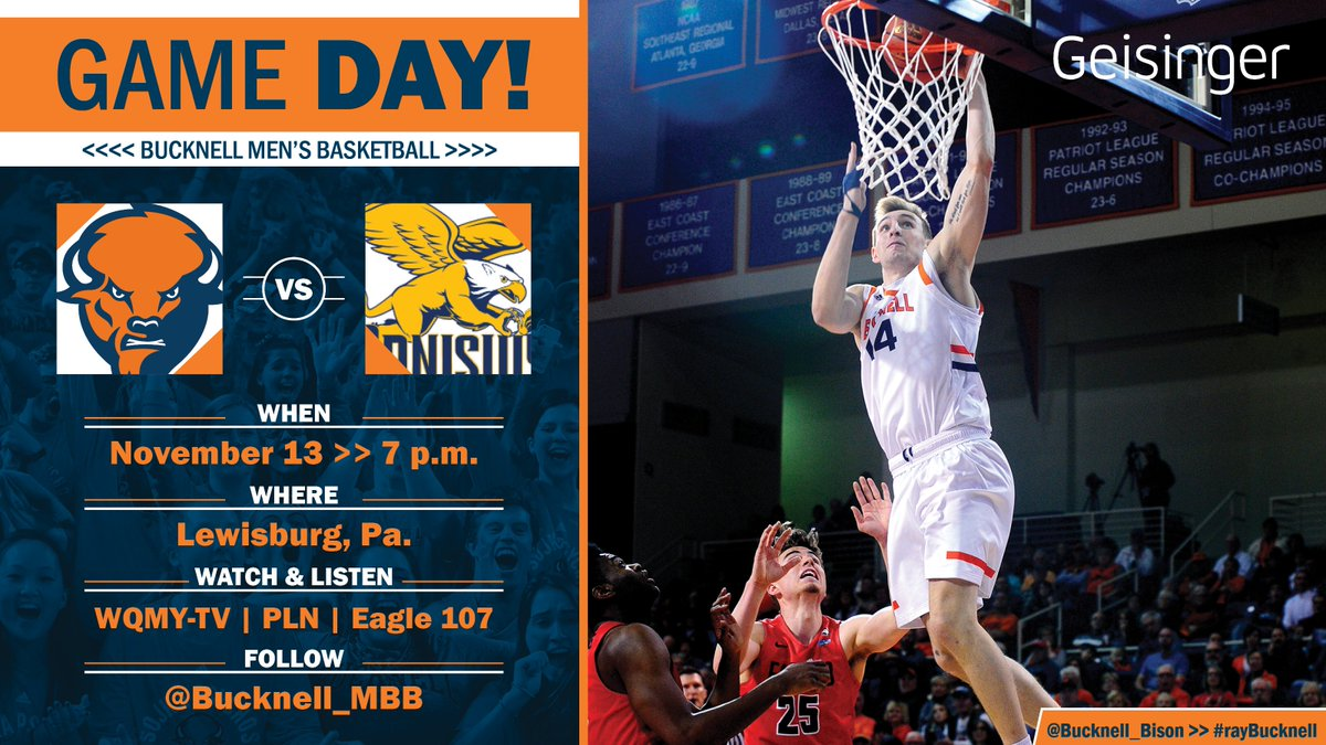 Its GAME DAY! Come on out to Sojka Pavilion tonight to see the Bison take on Canisius. The game is televised on WQMY-TV and streams on @PatriotLeagueTV, and you can listen on Eagle 107. Go Bison! #rayBucknell