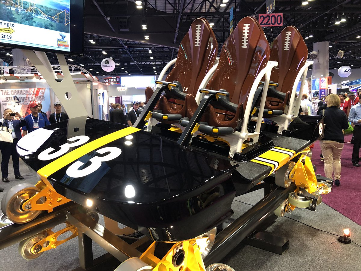 Here is the lead car for the STEEL CURTAIN coaster coming to @Kenny_Kangaroo NEXT YEAR! #IAE18 https://t.co/l7F6idIg9n