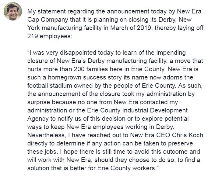 My statement regarding the announcement today by New Era Cap Company that  it is planning on closing its Derby a4e1be7c08f0