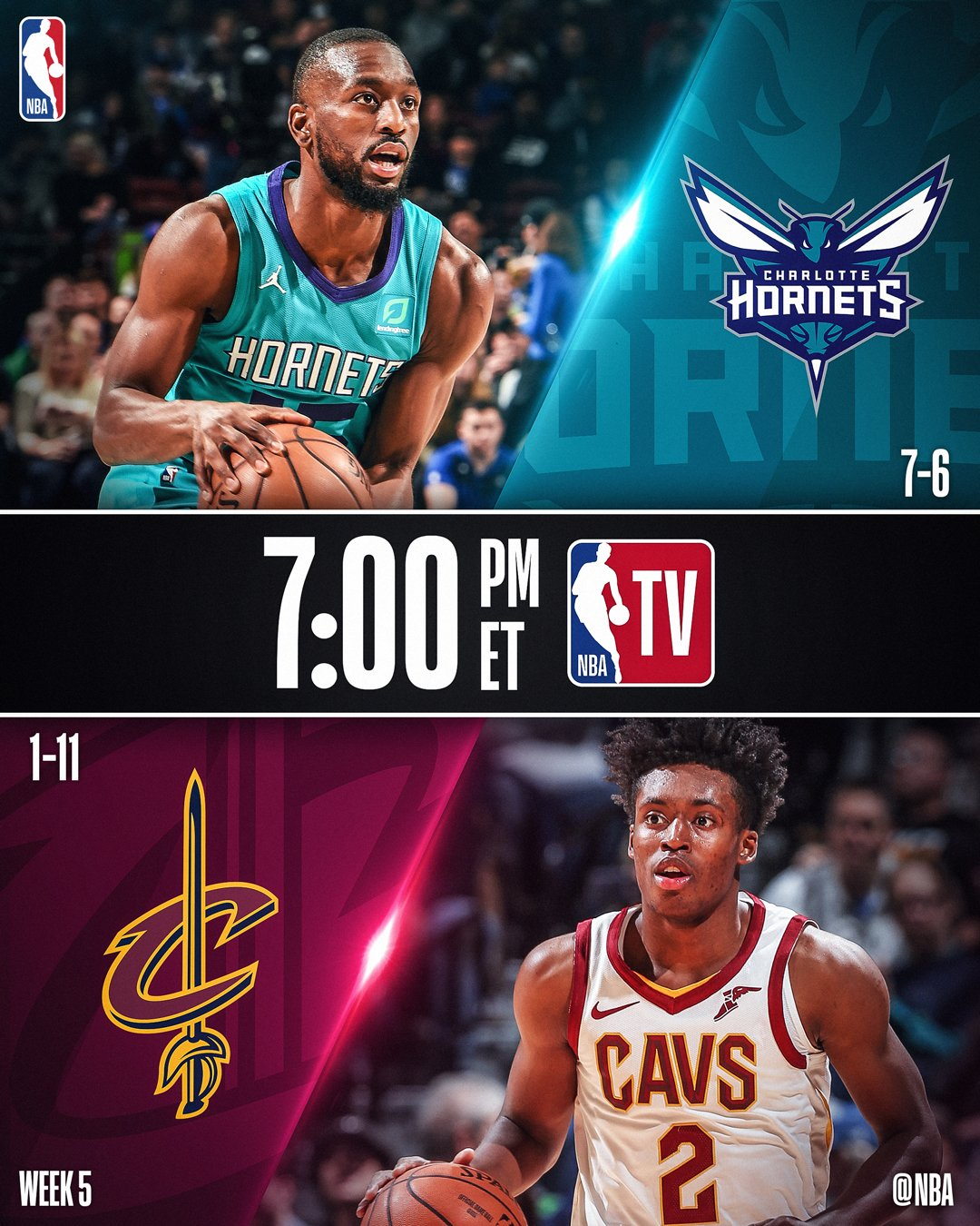 Tonight's @NBATV action features...  7:00pm/et: @hornets x @cavs  10:30pm/et: @ATLHawks x @warriors https://t.co/wKeitrfzW7