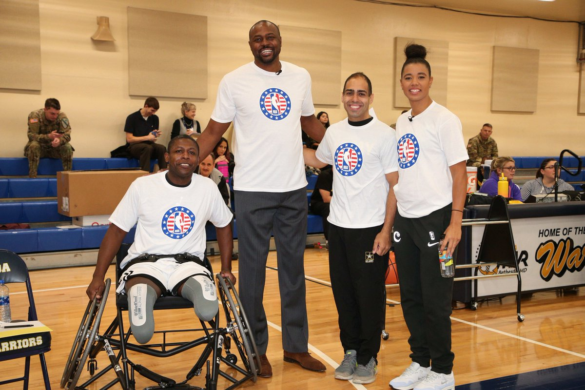 As a part of #HoopsForTroops week, @T_Cloud4 joined @nbacares to coach wheelchair basketball at @WRBethesda 🏀🇺🇸