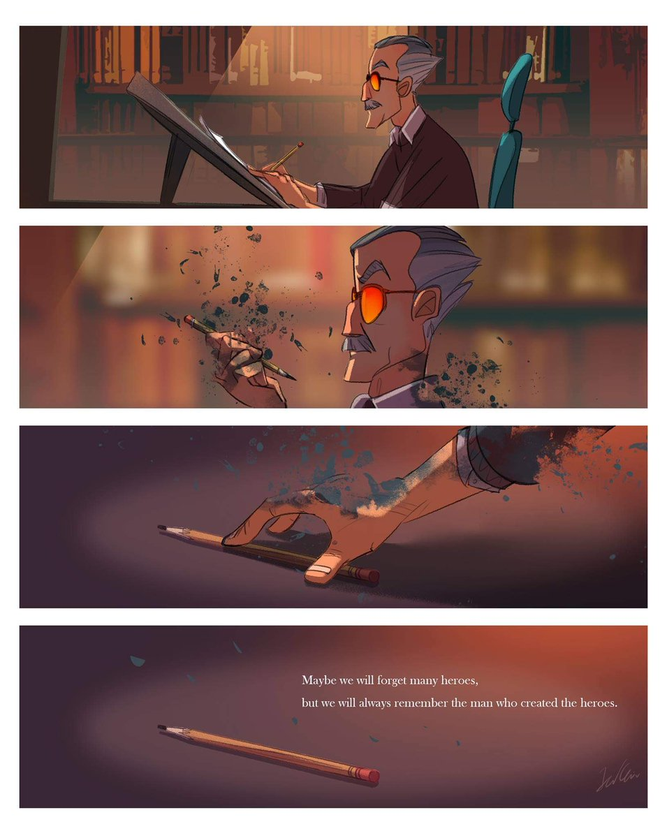 A touching tribute to a notable comics illustrator who is most famous for illustrating with his pencil and tilted desk, which he famously used for penciling illustrations. <br>http://pic.twitter.com/dkpZJo6PeT