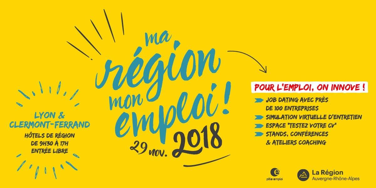 L'événement « Ma Région, Mon #Emploi » revient le 29/11 dans les hôtels de Région de #Lyon et #ClermontFd. L'occasion de rencontrer près de 100 entreprises qui recrutent dans tous les secteurs : https://t.co/MG7G8uHNU0  Inscription : https://t.co/x1rE3pECnc  @poleemploi_ara https://t.co/n6izEmQ3Pb