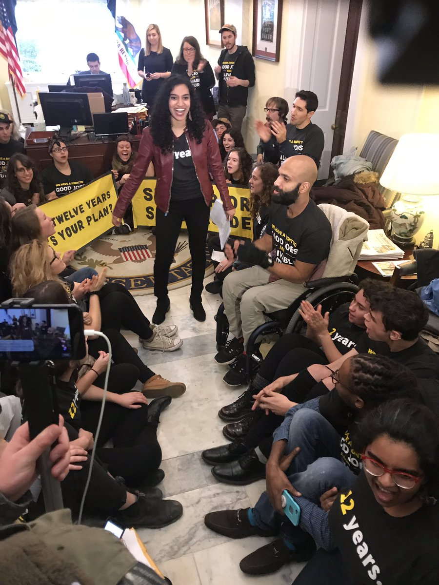 No sign of @NancyPelosi so @sunrisemvmt is starting to sit in at her congressional office. No more empty rhetoric. No more half measures while California burns. We need a #GreenNewDeal with #GreenJobsForAll. @HouseDemocrats need a real plan actionnetwork.org/petitions/pelo…