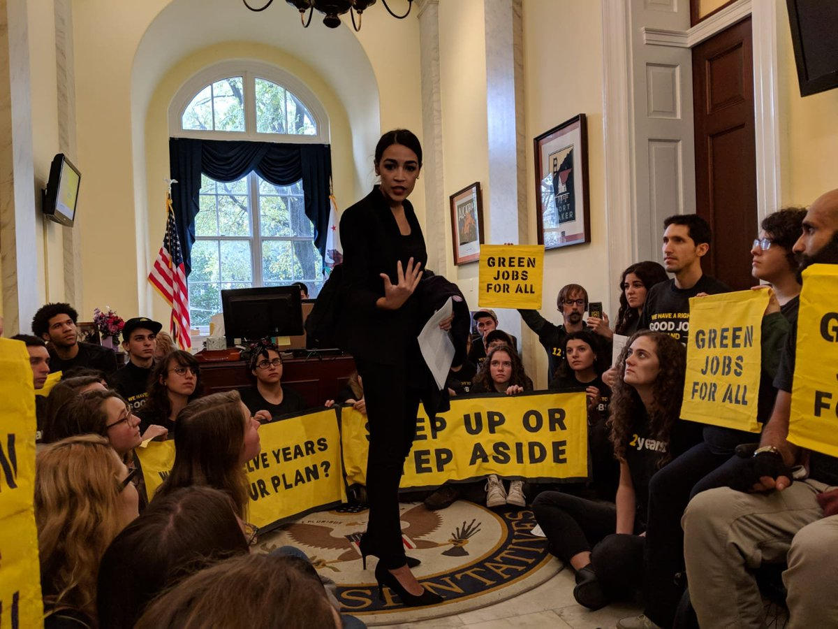Thank you @Ocasio2018 for joining the @sunrisemvmt + Justice Dems sit-in at Pelosis office! Were ushering in a new generation of leadership that fights unapologetically for solutions matching the scale of crises like catastrophic climate change. Its our time. #GreenNewDeal