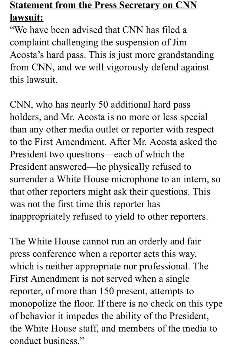 "White House now saying @Acosta ""physically refused to surrender a White House microphone to an intern, so that other reporters might ask their questions."""