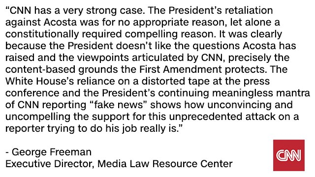 George Freeman, Executive Director of the @MediaLawMLRC weighs in: 'CNN has a very strong case.' Full statement: