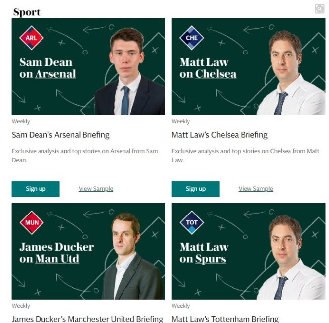 We have launched six new Premier League newsletters. So, if you support Arsenal, Chelsea, Liverpool, Man City, Man Utd or Tottenham don't miss exclusive weekly content from @TelegraphDucker @Matt_Law_DT @_ChrisBascombe  & @SamJDean  https://www.telegraph.co.uk/newsletters/homepage/ …