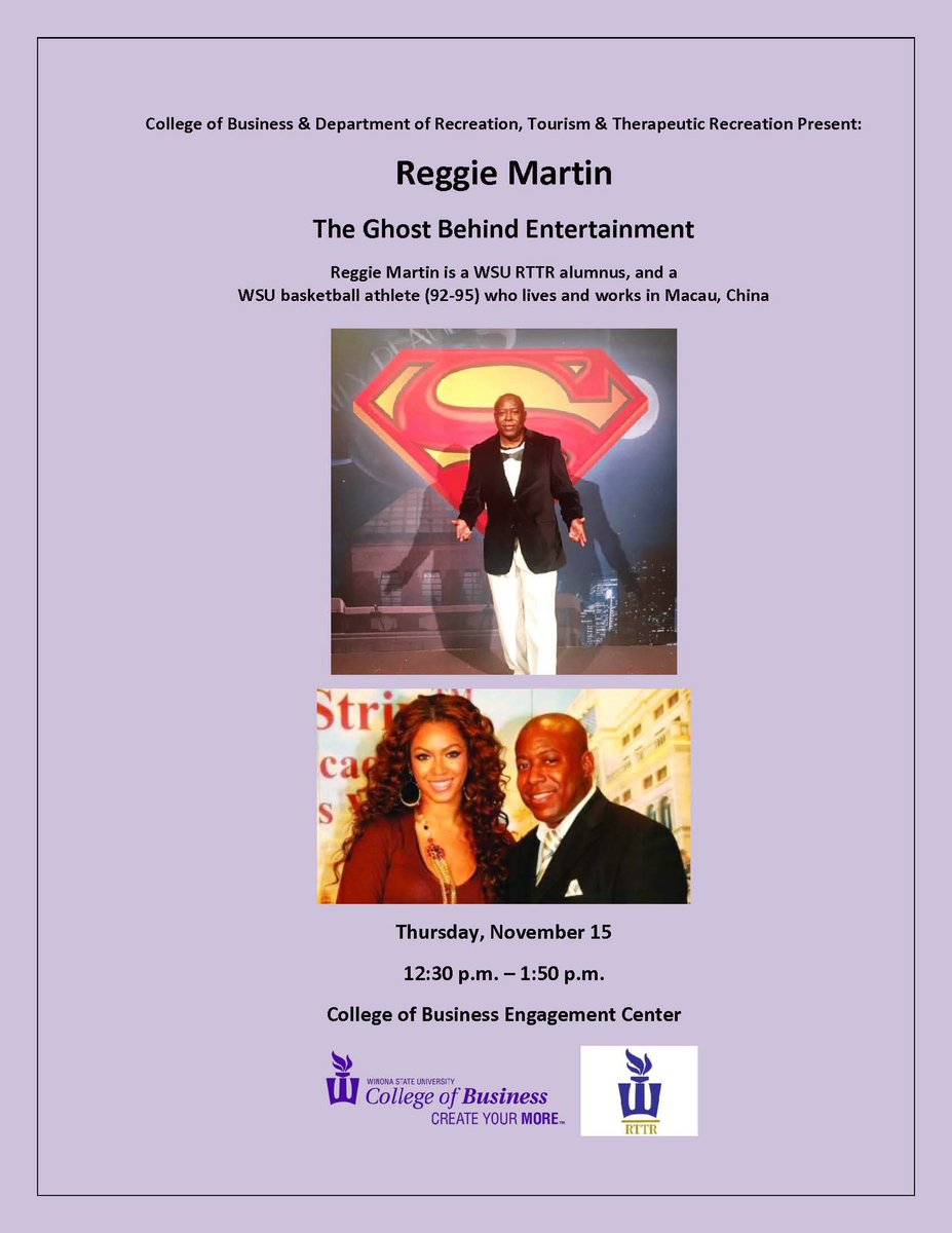 WSU alumnus Reggie Martin will be speaking this Thursday at 12:30pm in the Engagement Center. Reggie traveled from China to visit with students, so remember to travel across campus to hear his story!🌏🏀
