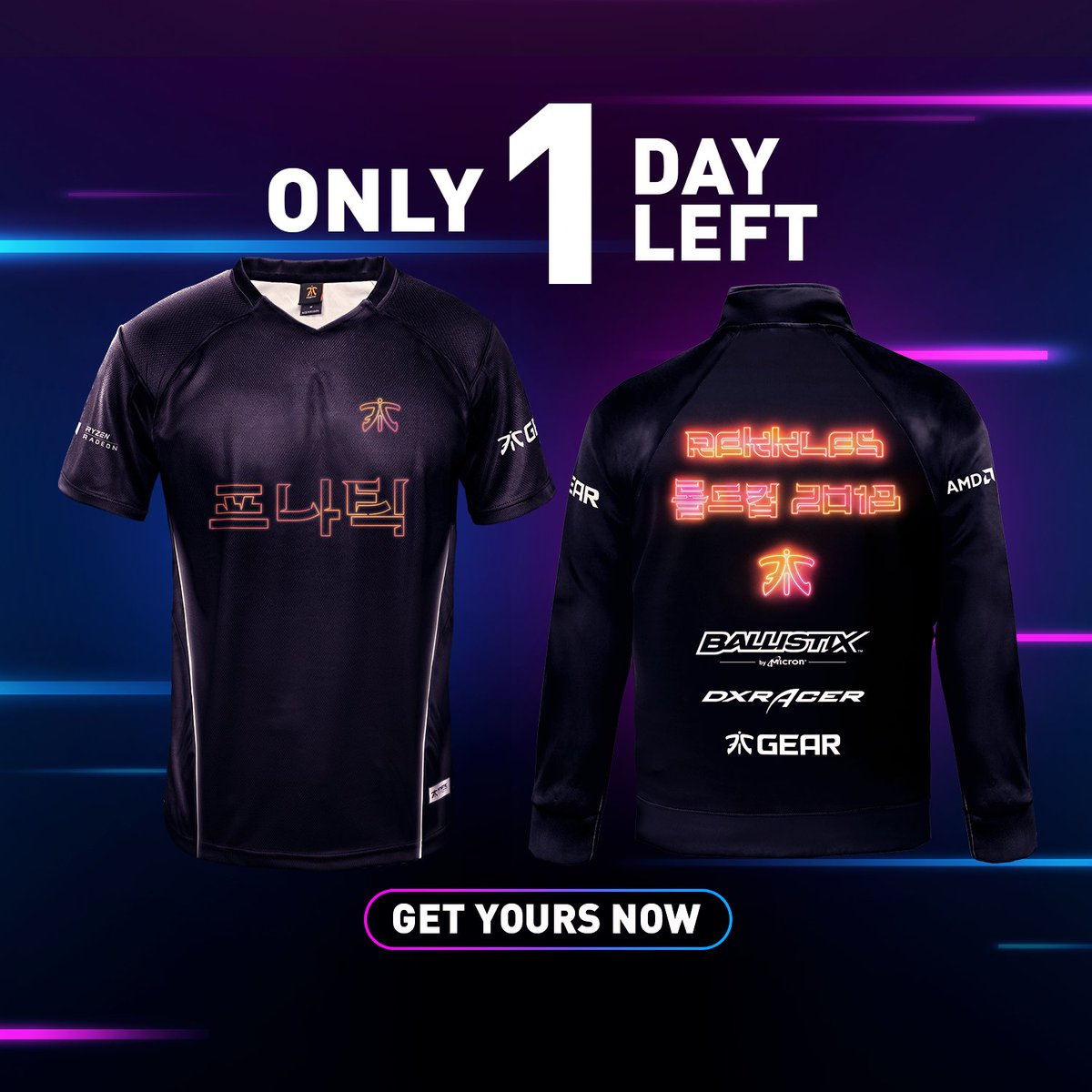 The Special Edition Fnatic  Worlds 2018 Neon Collection closes tomorrow.  http   fna.tc WorldsKit pic.twitter.com u0W7gWcAIG b5751d7ee