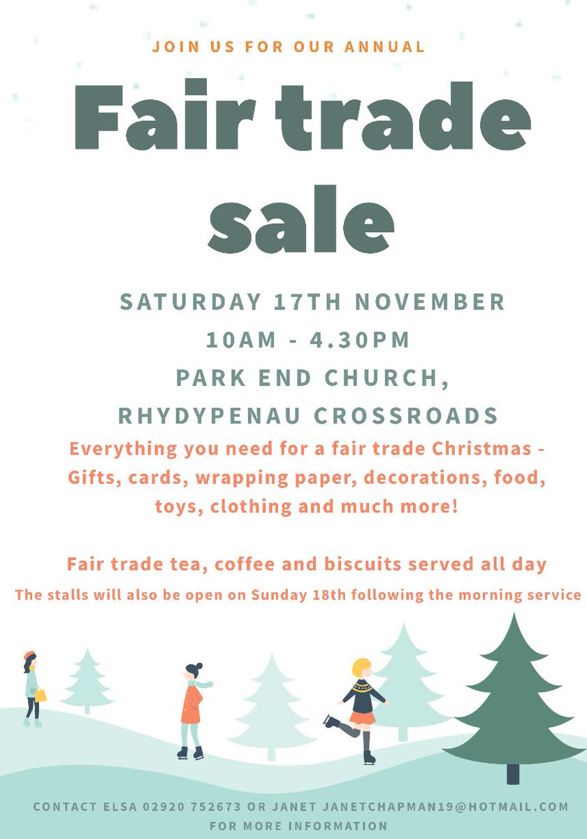 test Twitter Media - The annual @ParkEndChurch fair trade sale is happening this Saturday - you'll find almost everything you'd find in Fair Do's there. Perfect for those in North Cardiff who can't get to Canton often. Please share! https://t.co/sJh4tat2Ld