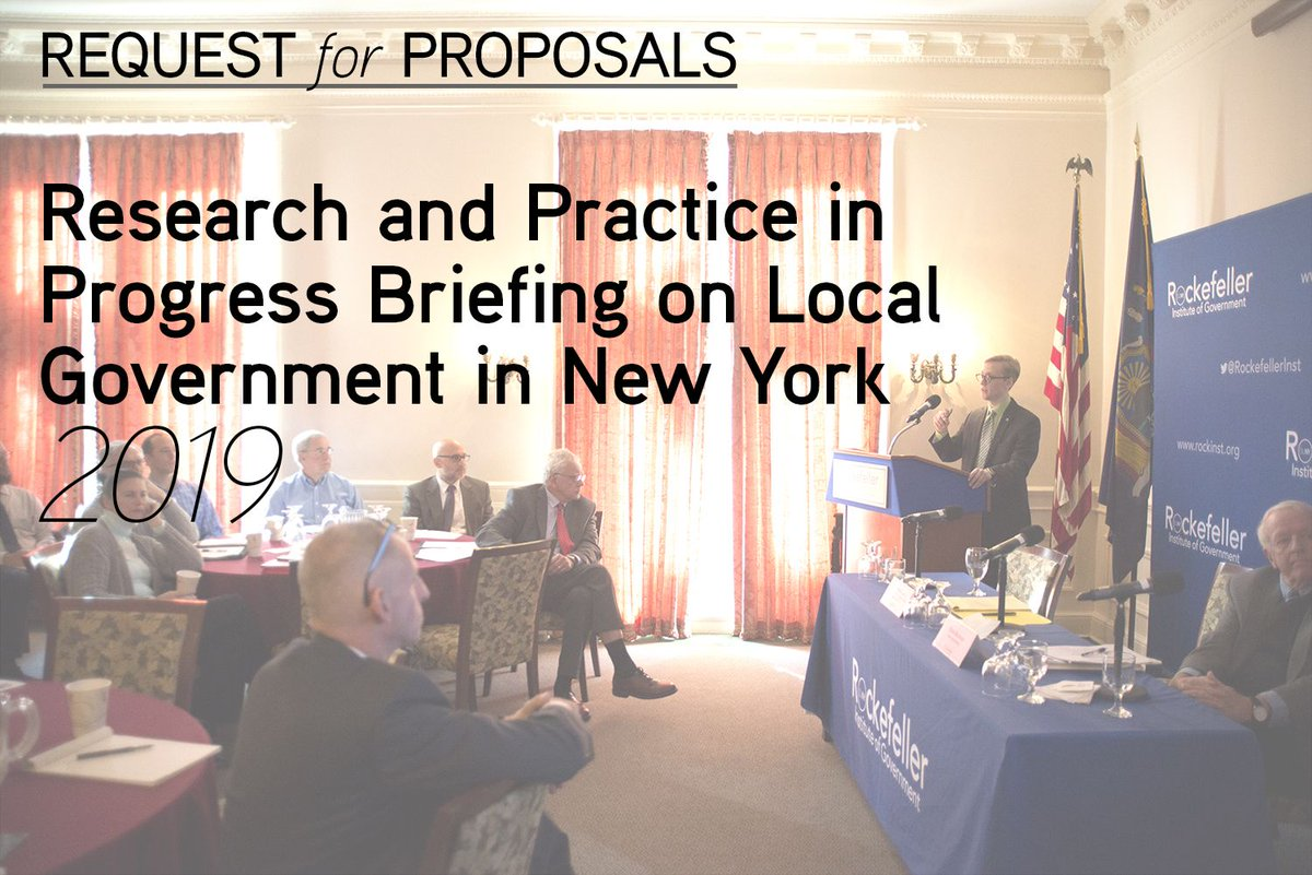 "We're seeking proposals for presentations of innovative, in-progress projects involving local governments in New York State for next year's ""Research and Practice in Progress Briefing on Local Government in New York.""  Learn more and submit: https://t.co/nczP5UD7v5"