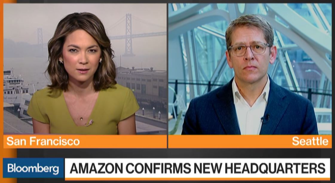 Jeff Bezos will be spending a lot of time at both new headquarters says Amazon SVP Jay Carney, and pushes back on criticism they took advantage of cities in this process https://t.co/8CZqz2ryU6