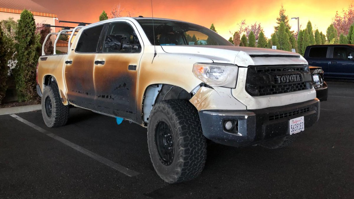 This Toyota truck helped a nurse save lives in California fire. Allyn Pierce drove through the flames in his Tundra to save patients at a Paradise hospital >> topgear.com/car-news/toyot…