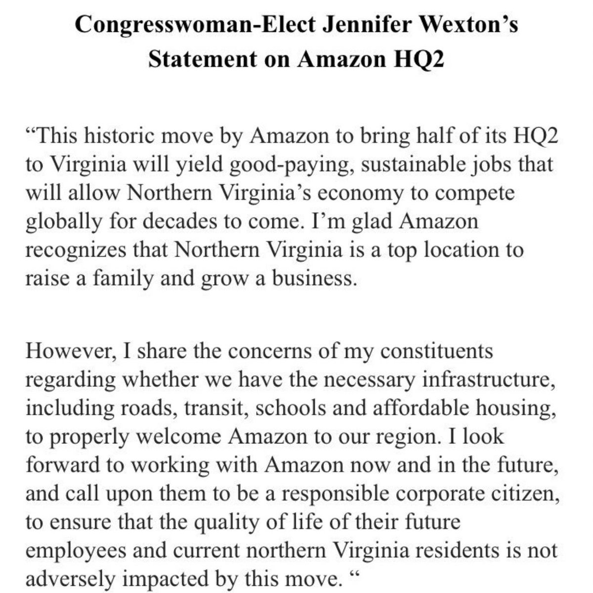 My statement on the announcement of @amazon HQ2 coming to Northern Virginia: