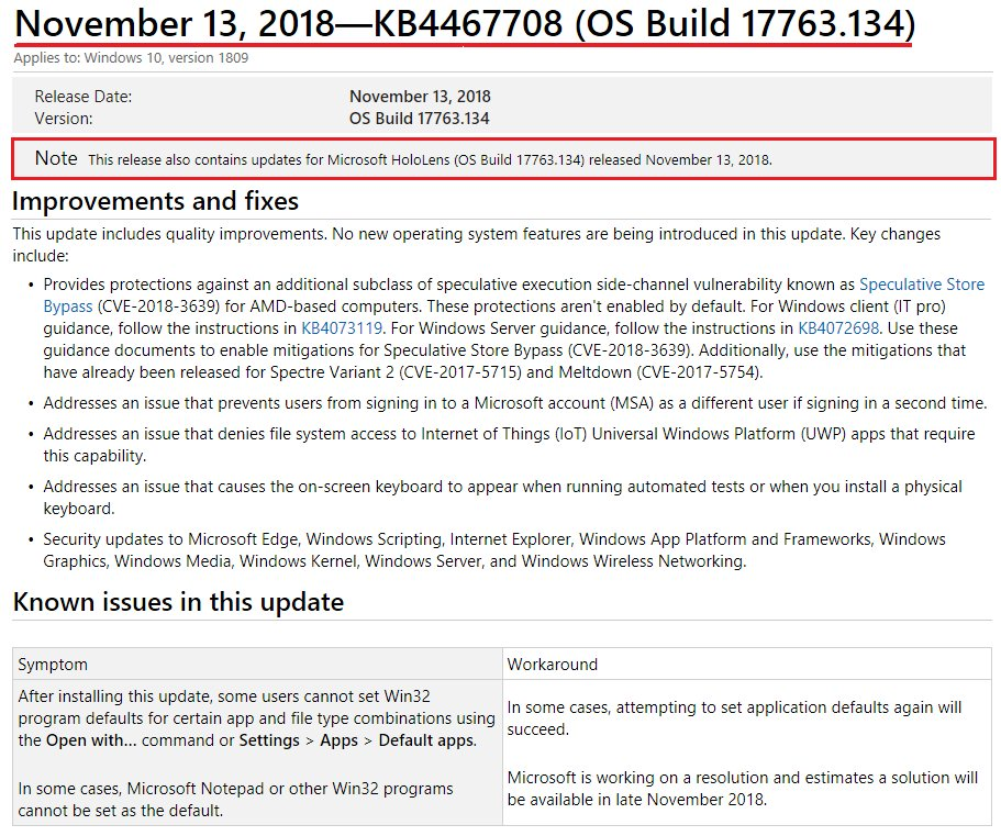 windows 10 cumulative update november 2018