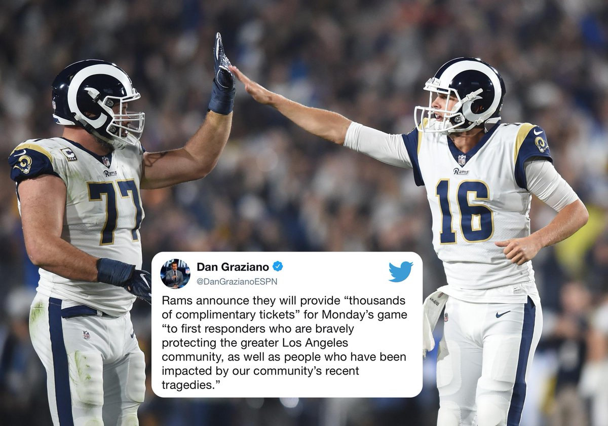 The Rams will be providing complimentary tickets to first responders who are bravely protecting the greater Los Angeles community, as well as people who have been impacted by the recent tragedies in Thousand Oaks.