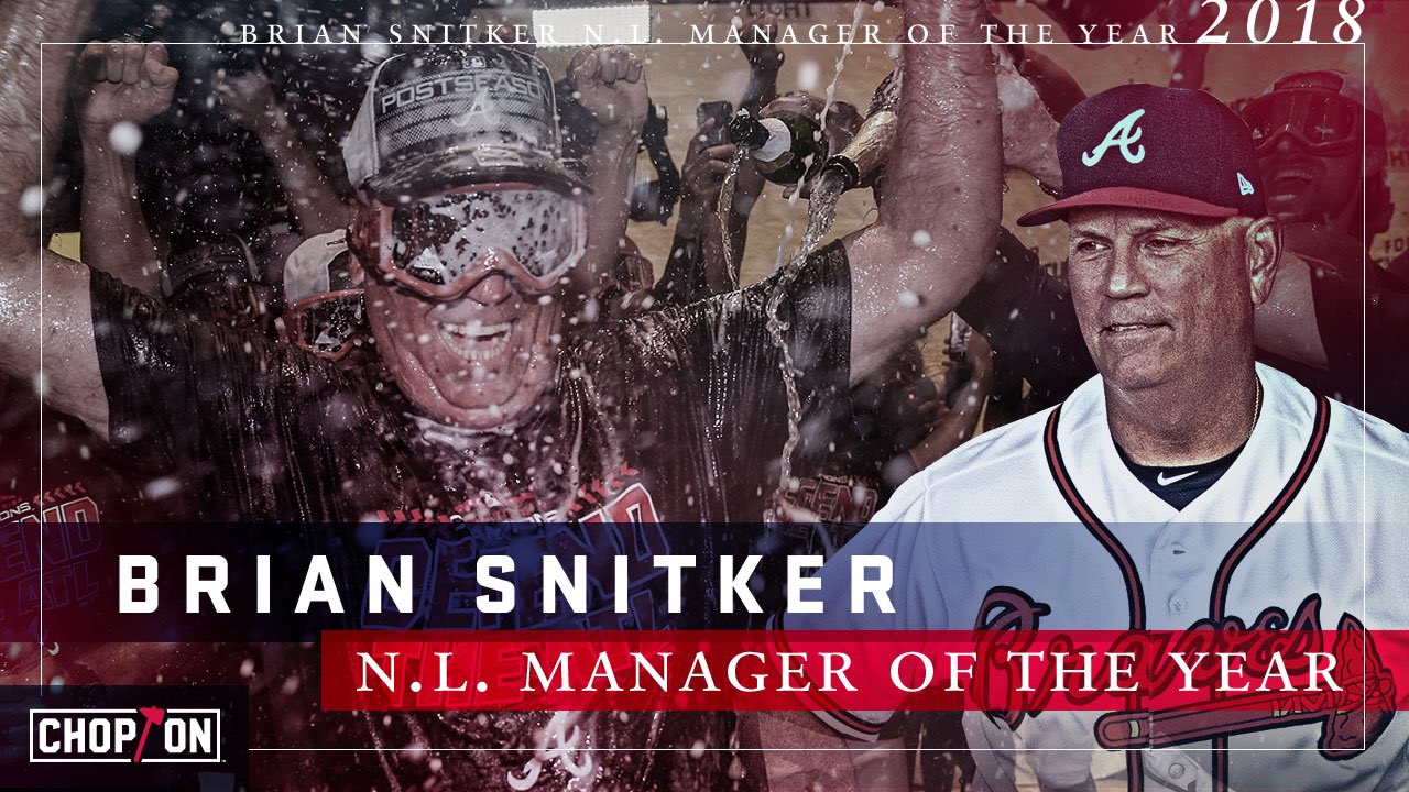 YOUR 2018 National League Manager of the Year: Brian Snitker!  #ChopOn https://t.co/qDs4sTji2X