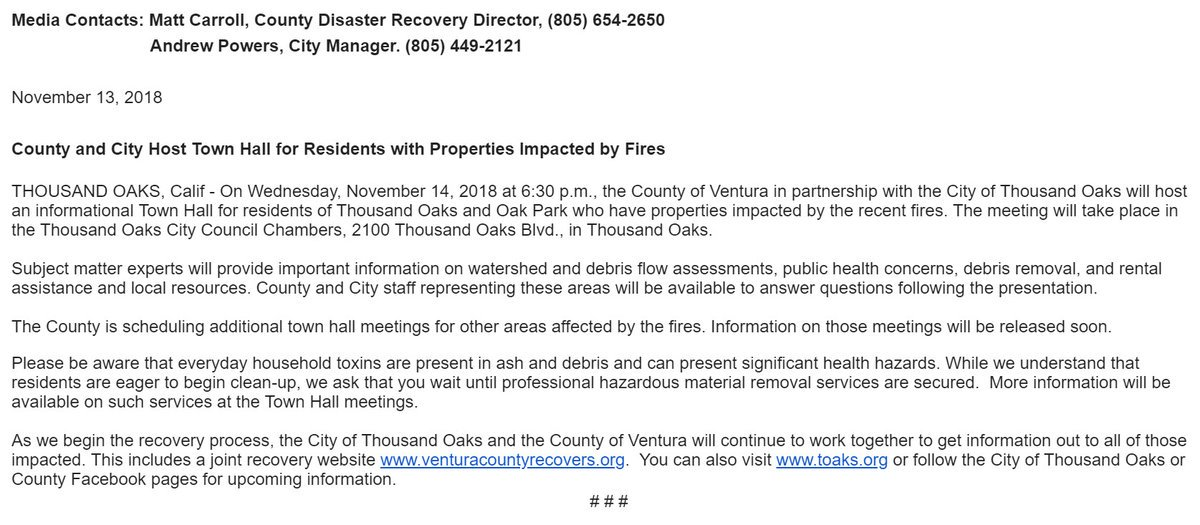 Thousand Oaks Blvd This Meeting Is For TO And OP Residents Who Have Properties Impacted By The Fire See Below More Infopictwitter FcsHDoU5CX
