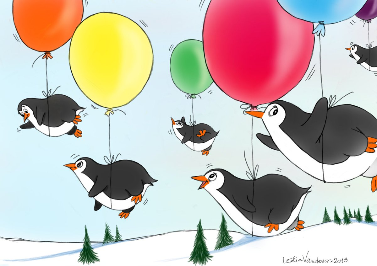 Who says penguins can&#39;t fly? Here&#39;s an airborne waddle as proof, @Animaloonies #animaloon_collective! #kidlitart #illustration #chroniclife<br>http://pic.twitter.com/tBbFexSwVR