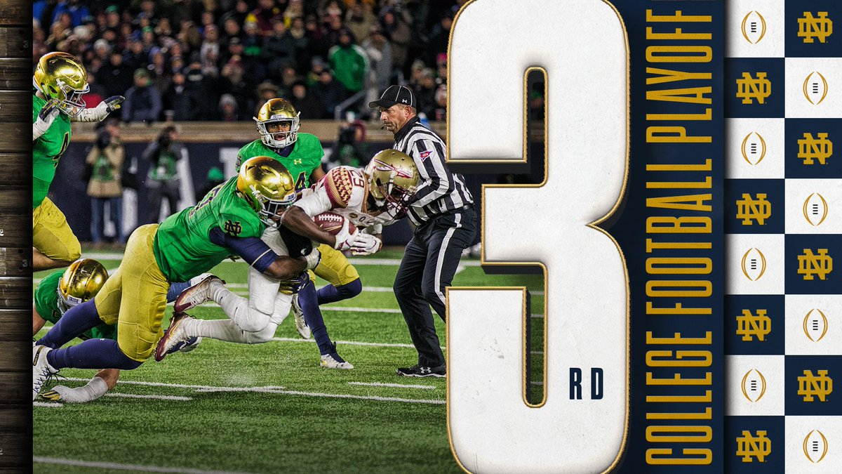 The #uNDefeated Irish hold strong at No. 3 in this week's #CFBPlayoff poll. #GoIrish ☘️ #BeatOrange