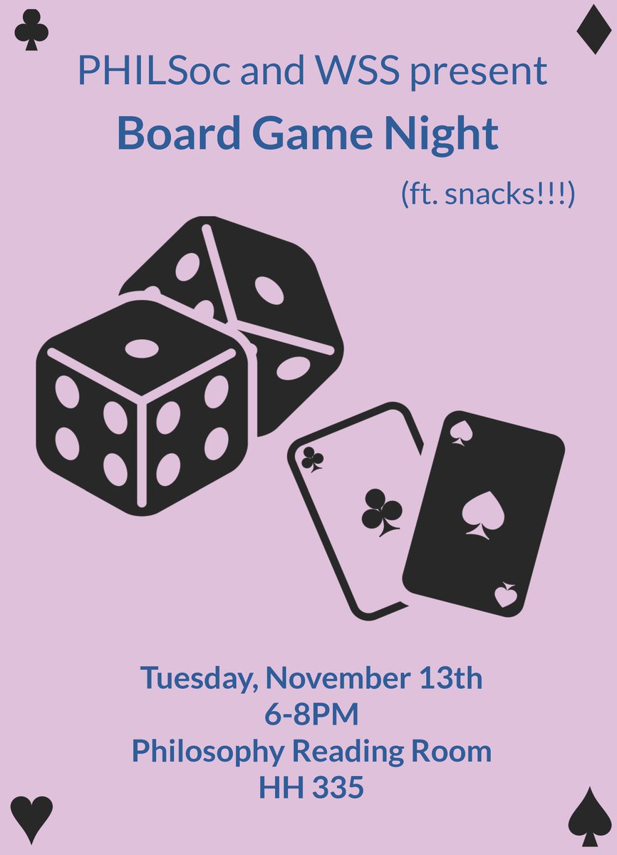 WIN WIN WIN! @WaterlooPhilos PHILSoc and Women&#39;s Studies Society is having a board game night TONIGHT from 6-8 in HH 335. #UWaterlooArts<br>http://pic.twitter.com/qfGVfo0m8Y