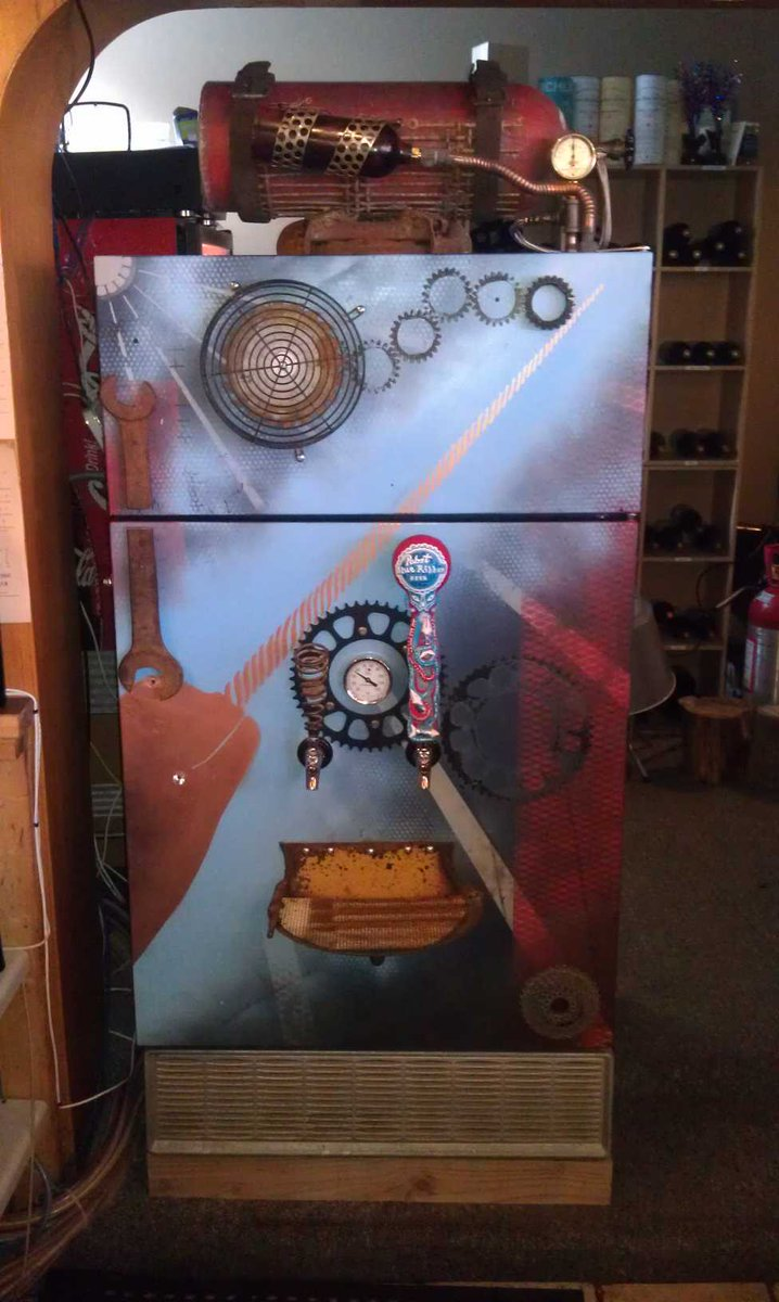 I've always been fascinated with the #SteamPunk style.  This is a #kegerator I built for a #local restaurant. It's made up of totally found items - complete with a #scubatank on top and some #gears just for fun.  This is the best part of what I do - just letting the #ideas flow!