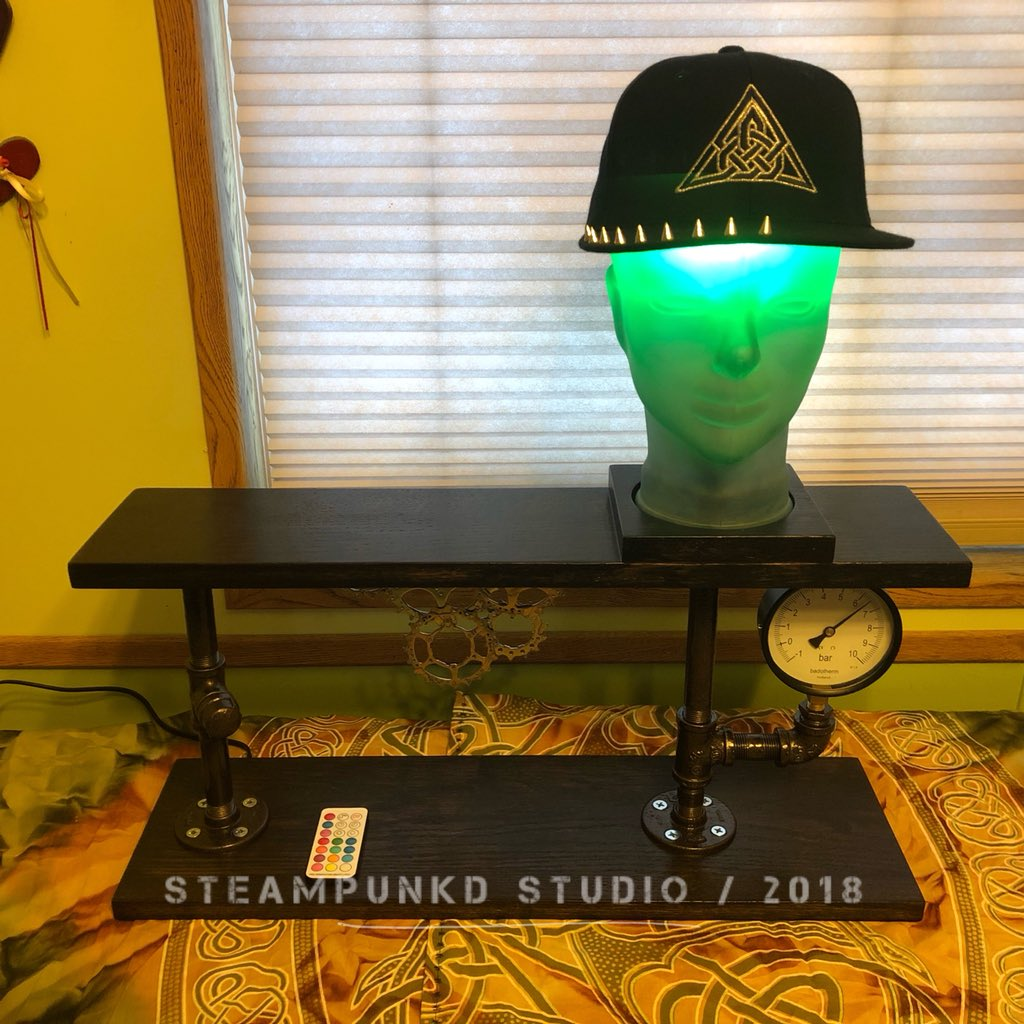 """Introducing the 4th and currently final style of desk lamp of my """"Head Lamp"""" series.  This one has an incognito on / off switch ->   https://t.co/uzUOIF8yrc  #steampunk #industrial #glass #lamp #desklamp #lighting #handmade #steampunkdstudio #steampunkart #steampunkstyle #goviral"""