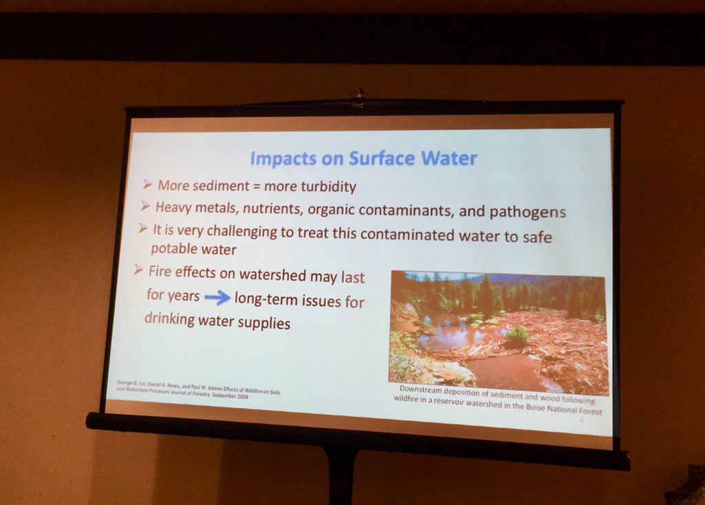photo credit Jennifer Peters (@earthavenger) at Water Quality Technology Conference (WQTC) 2018 session on the impact of wildfires on drinking water sources)