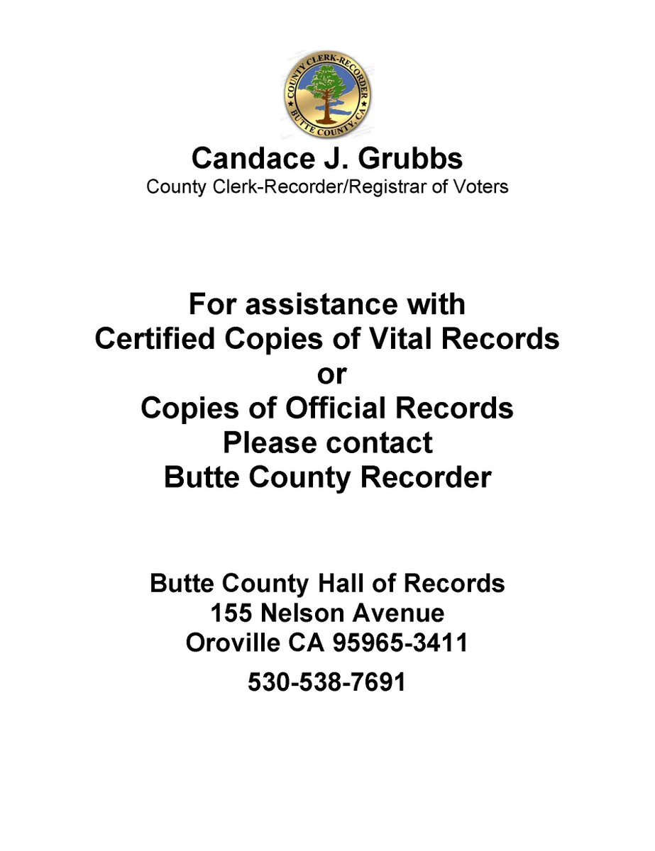 Butte County Clerk-Recorder's photo on #CampFire