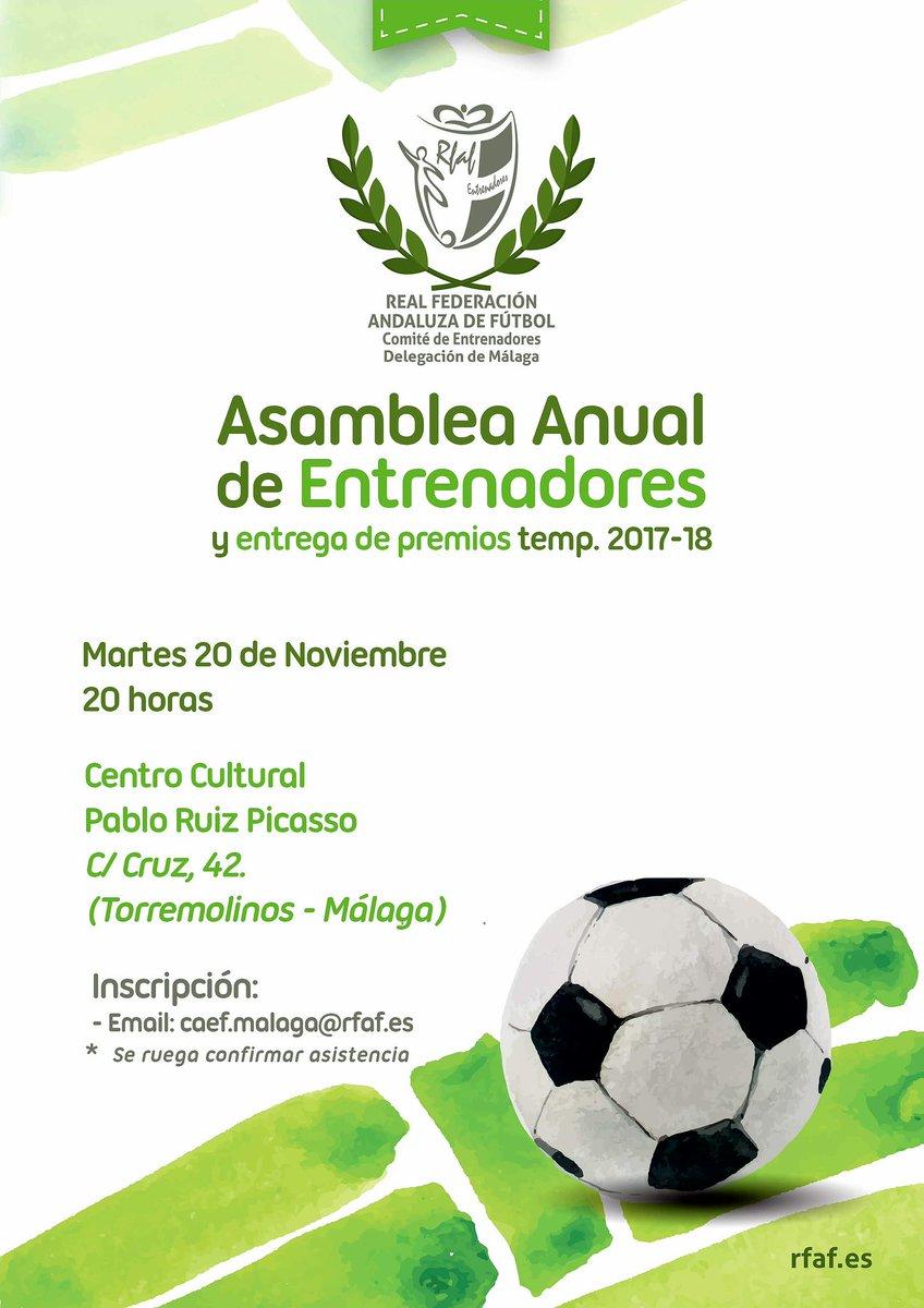 Justo dentro de una semana a esta hora (20 de noviembre) estará finalizando la Entrega de Premios de la temporada pasada del Comité Andaluz de Entrenadores de Fútbol de Málaga. Asiste y comparte una tarde con tus compañeros entrenadores. Te esperamos