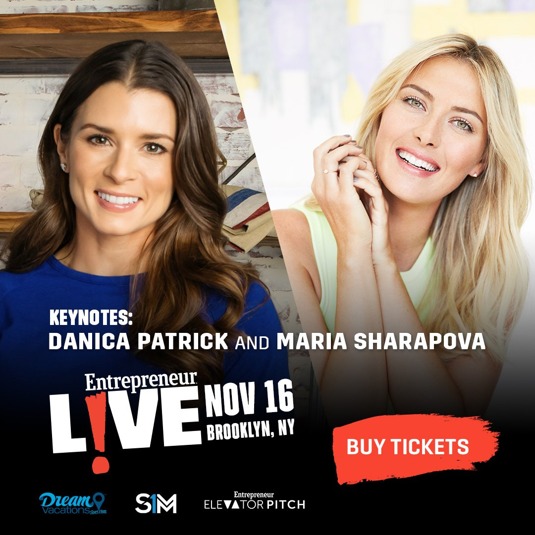 Didnt get your ticket to #ENTLIVE? You can tune in LIVE to our Facebook Page for all day coverage of the event, including our keynote speakers @DanicaPatrick and @MariaSharapova.