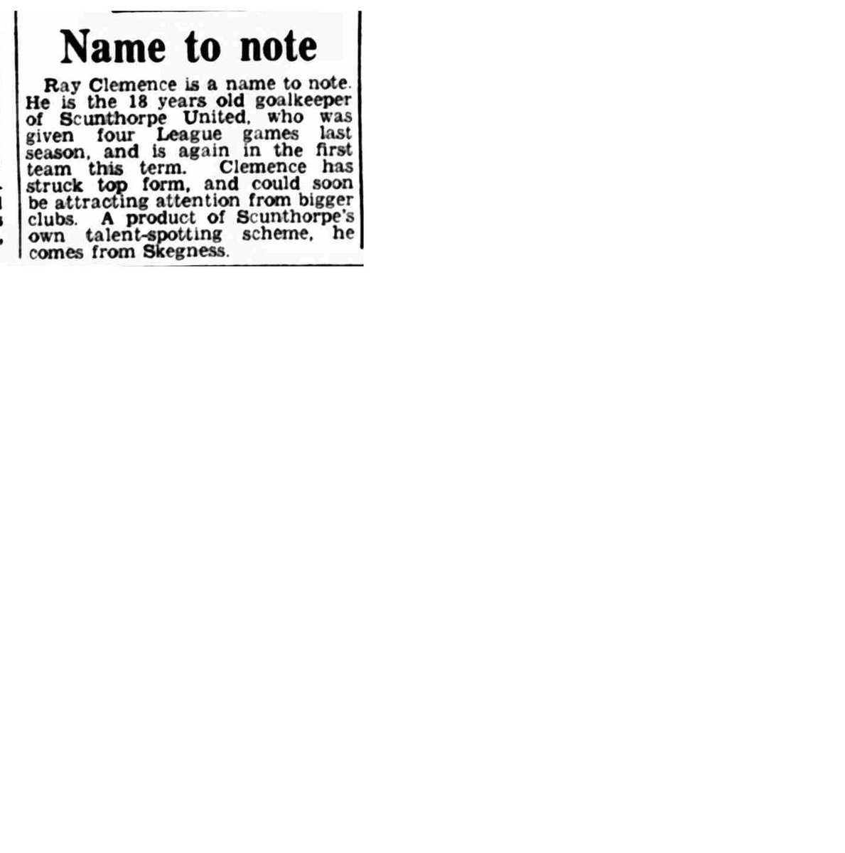 A report on a promising young goalkeeper @RayClem1 from The Coventry Evening Telegraph, 15th October, 1966.