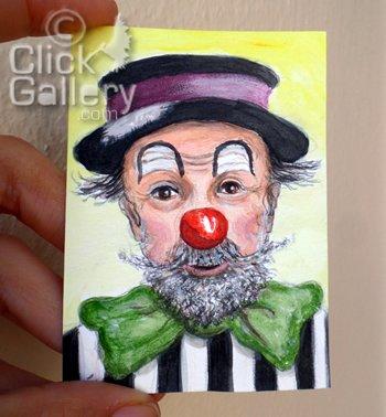 BirsenOzbilge Artist on Twitter: New blogpost; ACEO Clown Portrait #75 Palyaço Yakup