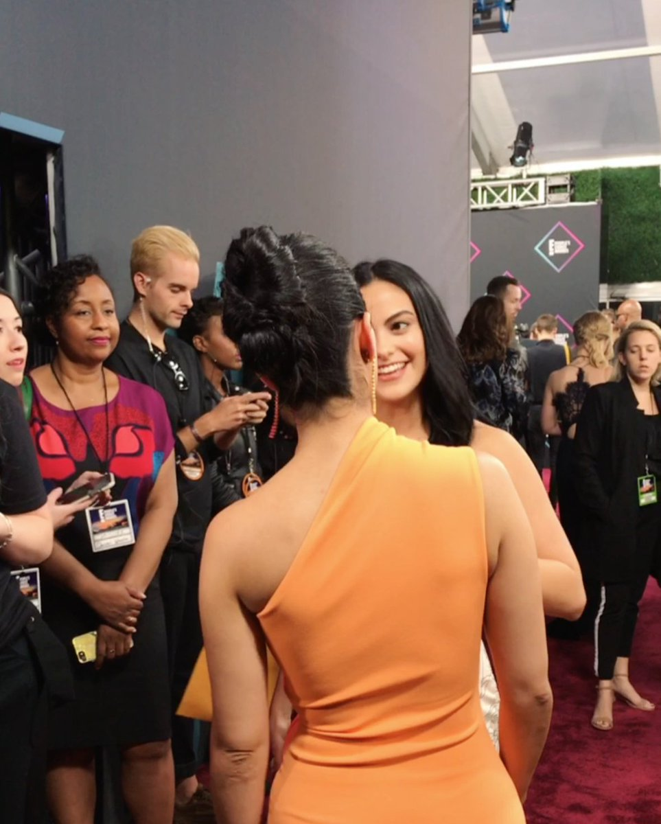 When worlds collide. @EmeraudeToubia & @CamilaMendes at the @PeoplesChoice Awards. #PCAs #Shadowhunters