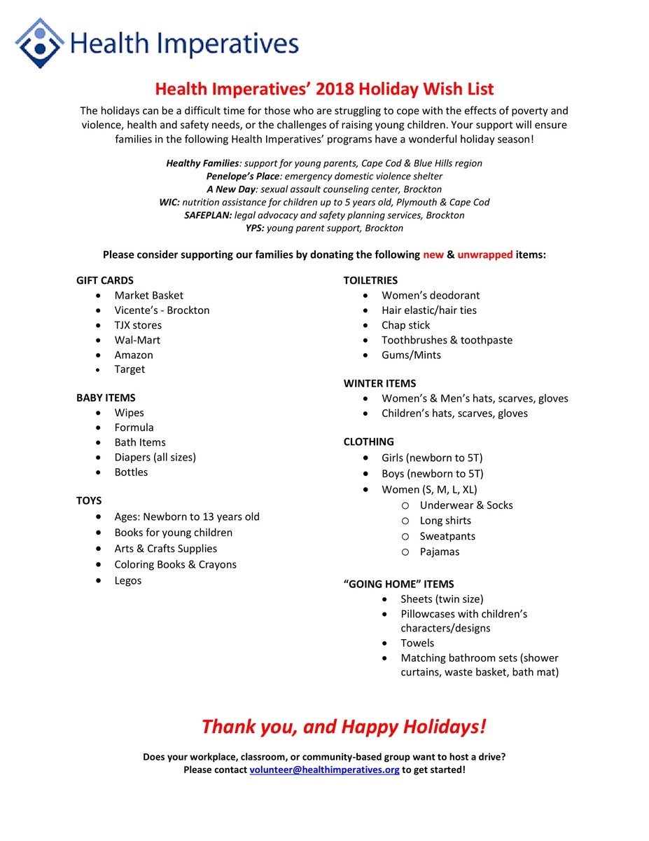 Our 2018 Holiday Wish List Is Here Check It Out For The Items Needed Most By Families This Year To Donate Email Volunteerhealthimperativesorg