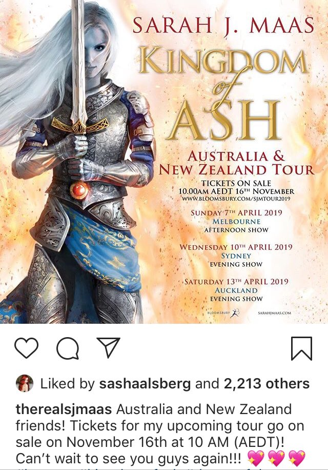 ICYM: Australian And NZ fans- tickets go on sale 10am November 16!!!!! #kingdomofash #sarahjmaas <br>http://pic.twitter.com/UQpfs5Zc6X