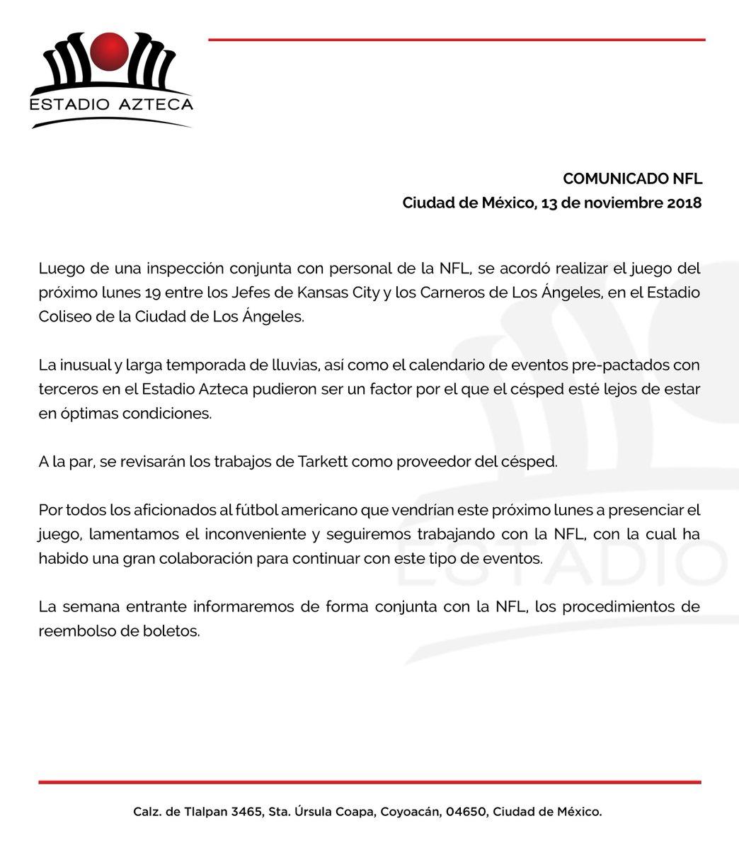 Estadio Azteca On Twitter Comunicado Nfl