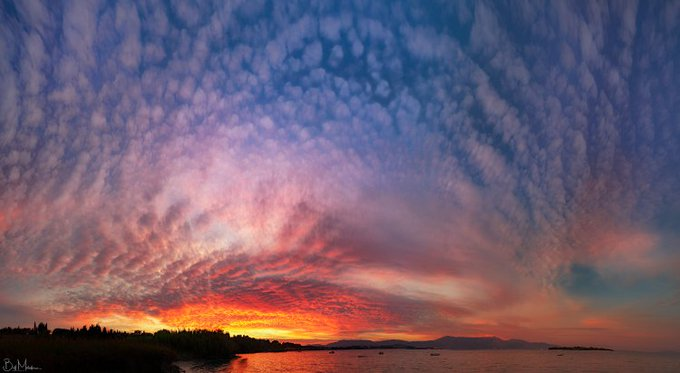 Altocumulus Sunset: When the Sun is low in the sky, the increased path-length of sunlight scatters out the shorter wavelength colors (greens, blues, violets) from our view, leaving the yellows, oranges and reds to paint the sky Photo