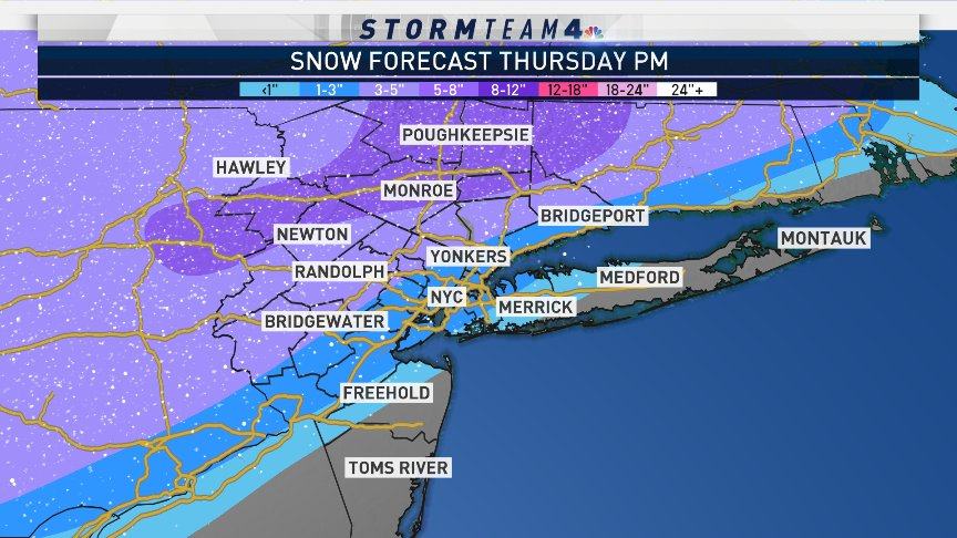 #Snow is coming! Our first winter storm of the season arrives Thursday. Please check back frequently in the next 36 hours for updates on timing, impacts, and amounts.  #NBC4NY
