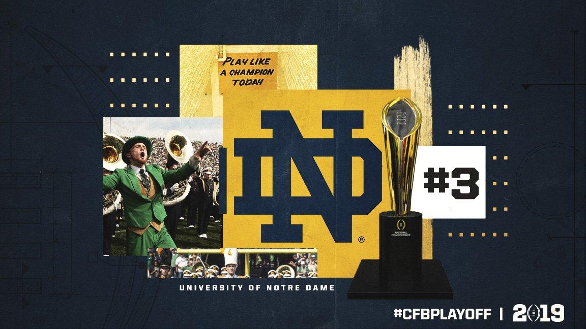 November 1️⃣3️⃣ #CFBPlayoff Rankings: 3️⃣. Notre Dame // @NDFootball