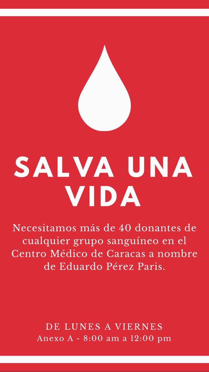 #ServicioPúblico Se solicita urgente más de 40 donantes de sangre de cualquier grupo sanguíneo para Pablo Antillano. Dirigirse al Centro Médico de Caracas a nombre de Eduardo Pérez Paris, de lunes a viernes antes de las 12 pm. https://t.co/cabIA8r3Se