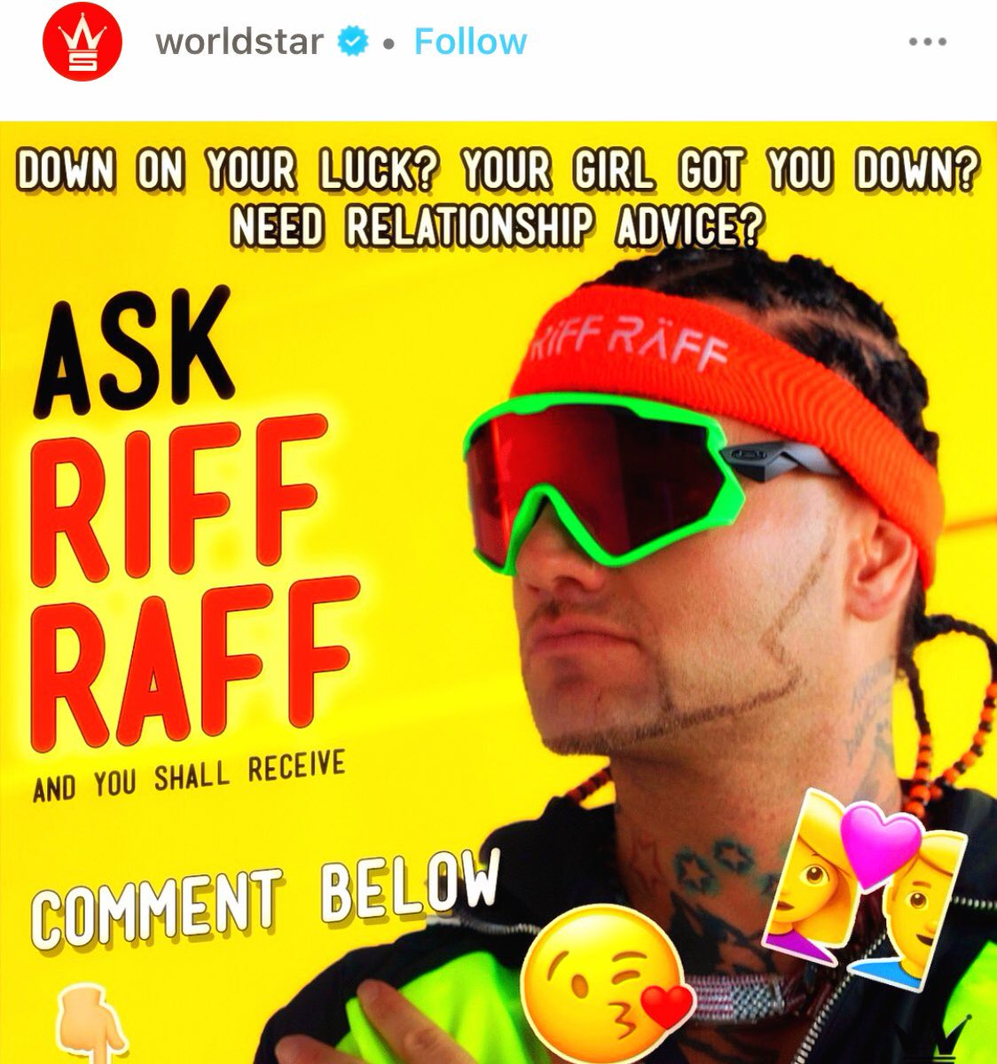00fe00b14b ask riff raff a question about love he will give u your answer live next  week