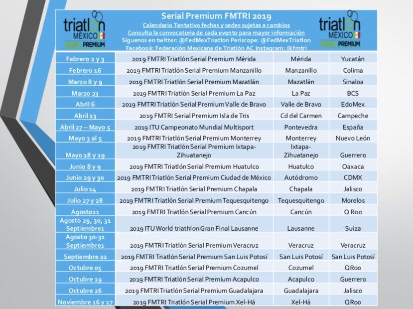 Calendario Triatlon 2019.ট ইট র F Mexicana Triatlon Calendario Tentativo Sujeto A
