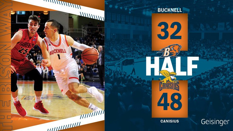 Hot shooting Canisius leads it at the half. They are 8-for-13 from the arc and 53% overall. Jimmy Sotos had a nice half for the Bison with 13 points (5-6 FG, 3-3 3FG).