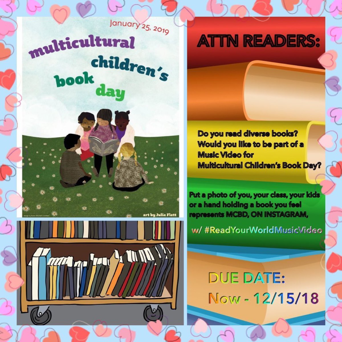 DO YOU WANT TO BE IN THE MUSIC VIDEO? Post a pic w/a multicultural book on Instagram (or here if you need to) using #ReadYourWorldMusicVideo    Video portion made by @pragmaticmom #Kidlit #kidlitart #MCBD2019 #ReadYourWorld @valariebudayr_<br>http://pic.twitter.com/08B1zO3S2l