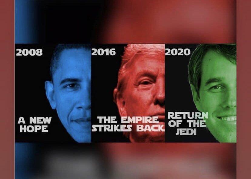 Get your lightsabers ready, y'all!  #BetoForPresident #Beto2020 @BetoORourke <br>http://pic.twitter.com/I3Ru8xoPwi