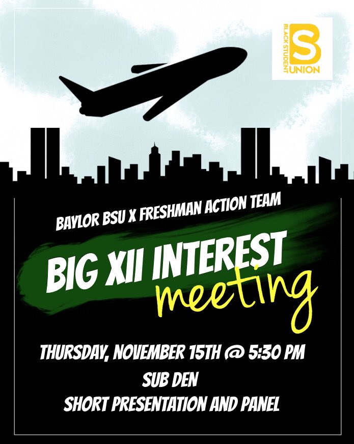 Thursday night meet us in the SUB Den at 5:30 PM!!! Come out to the interest meeting for the 42nd Annual Big XII Conference!!    #LeadershipReloaded